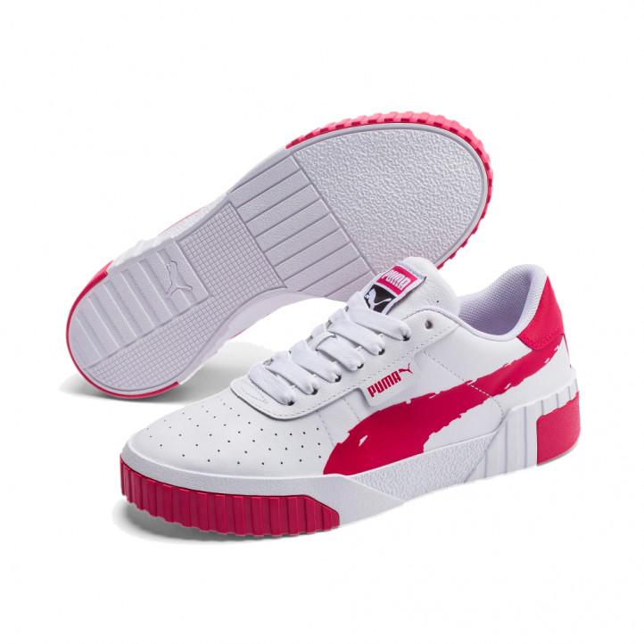 Zapatillas deportivas PUMA MODA blancas con detalles en fucsia, con suela progresiva - Querol online