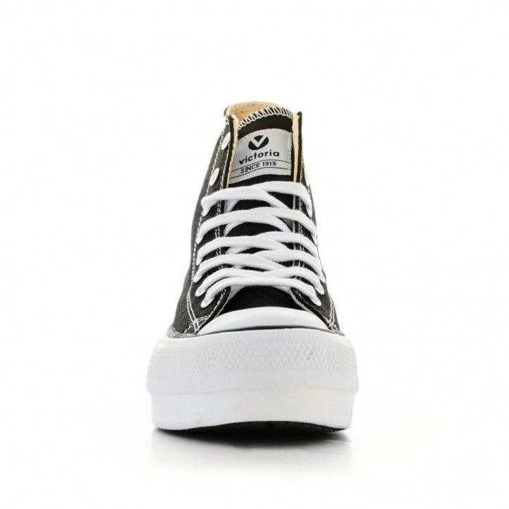 Zapatillas lona Victoria de plataforma negras altas con cordones - Querol online
