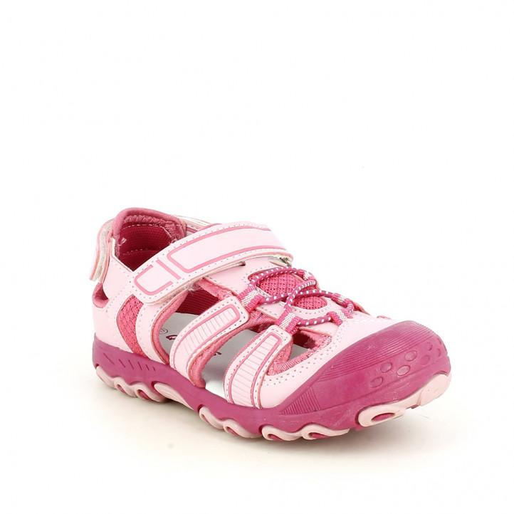 sandalias QUETS! cerradas rosas con doble velcro y elásticos - Querol online