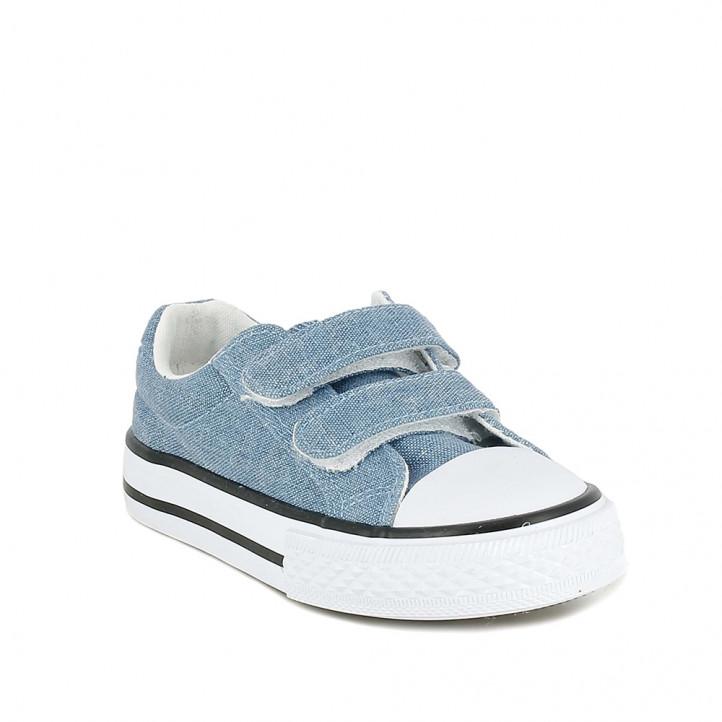 Zapatillas lona QUETS! azules textura tejana y suela blanca - Querol online