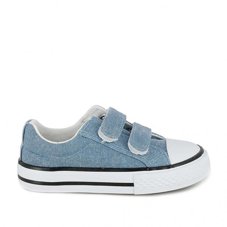 sabatilles lona QUETS! blaves textura texana i sola blanca - Querol online