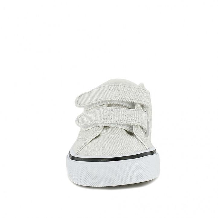 Zapatillas lona QUETS! grises metalizadas con velcro - Querol online