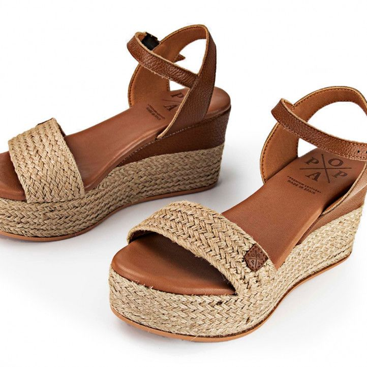 Sandalias cuña Popa congo chiara yute marrón - Querol online