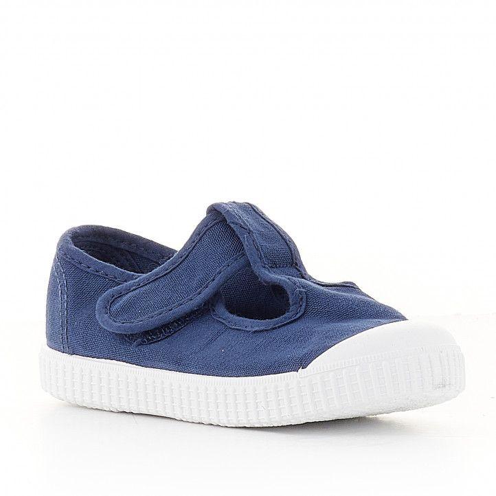 Zapatillas lona Victoria azules con velcro superior - Querol online