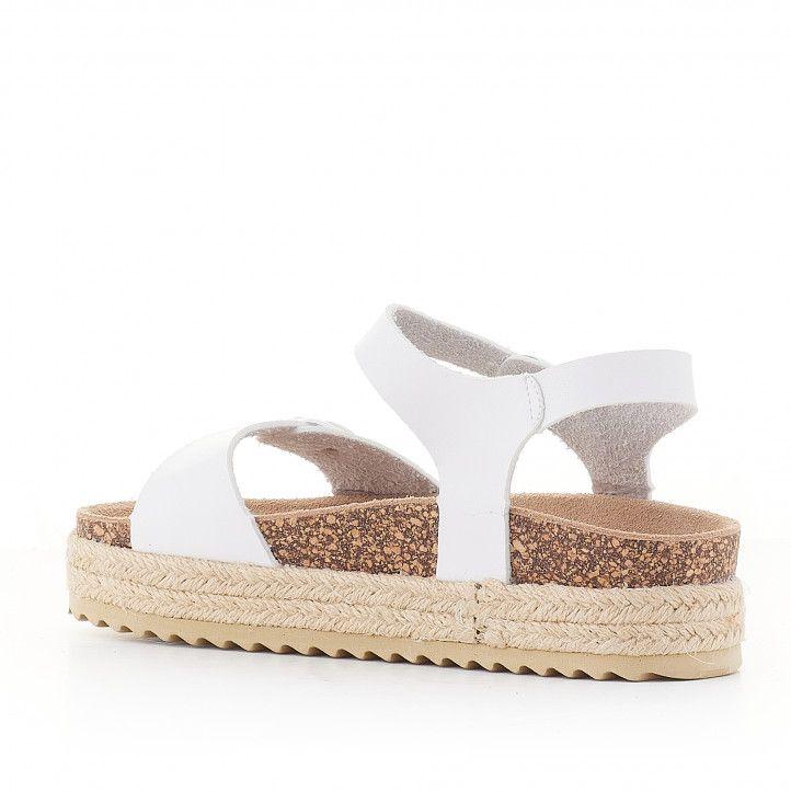 sandalias QUETS! blancas con plataforma cogidas al tobillo - Querol online