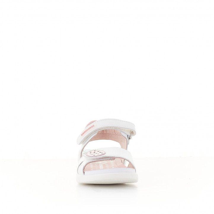 Sandàlies abotinades Biomecanics blanques i roses amb pinya - Querol online