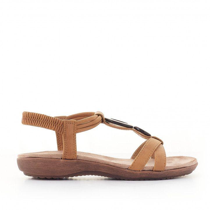 Sandàlies planes Amarpies marrons amb detall de fusta - Querol online