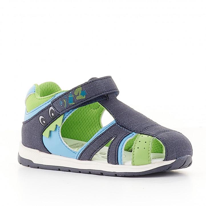 Sandalias abotinadas Chicco azules y verdes de lona - Querol online
