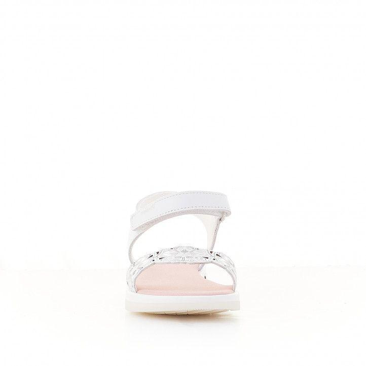 sandàlies Pablosky blanques amb flors i detall metàl·lic - Querol online