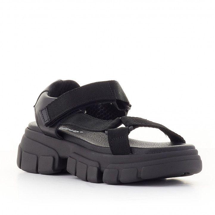 Sandalias plataformas Redlove norma negras con suela dentada - Querol online