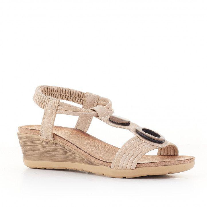 Sandalias cuña You Too beige de varias cuerdas - Querol online