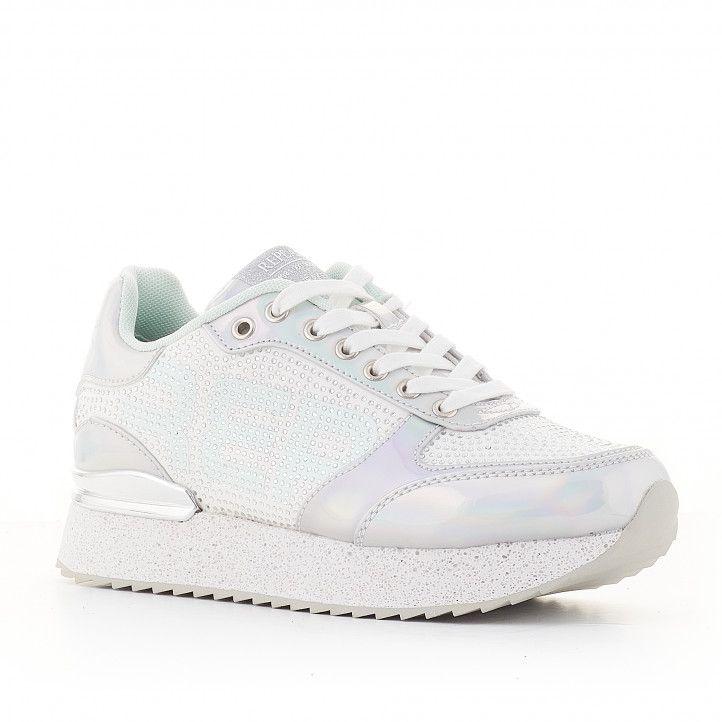 Zapatillas deportivas Replay blancas con detalles plateados - Querol online