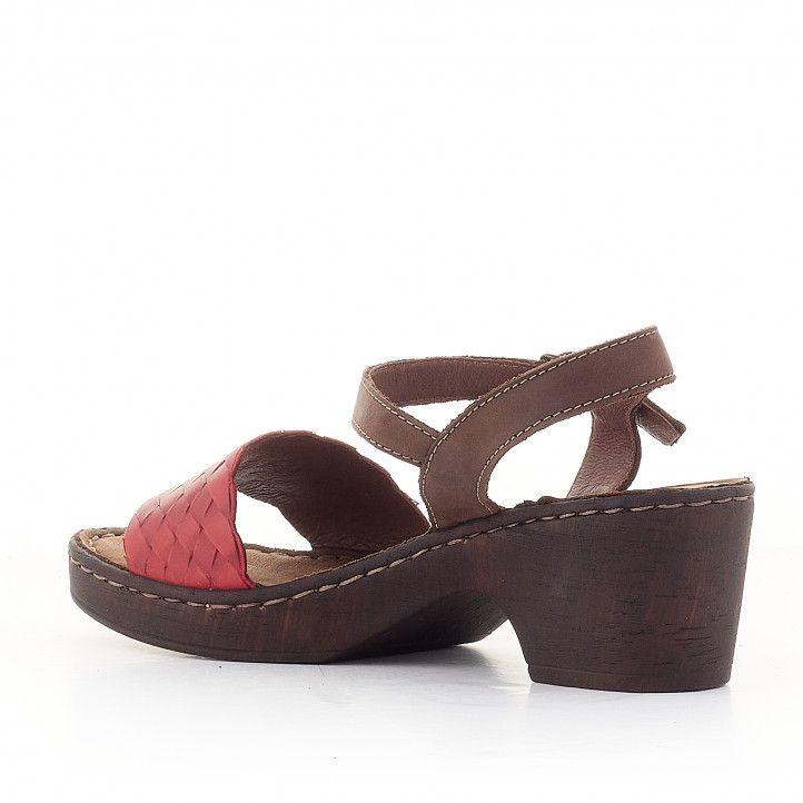 Sandàlies taló Walk & Fly marrons amb pala vermella - Querol online