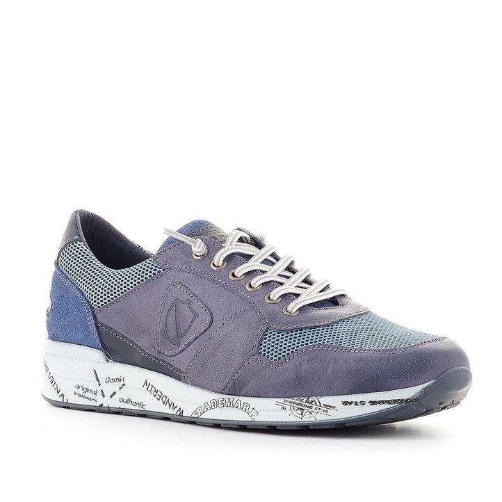 Zapatos sport Lobo azul con varios tejidos - Querol online
