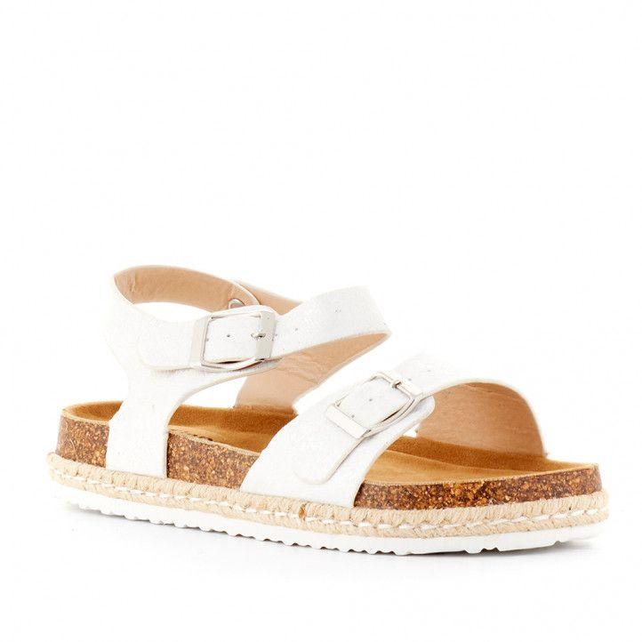 sandàlies K-TINNI blanques amb detalls platejats i dues sivelles - Querol online
