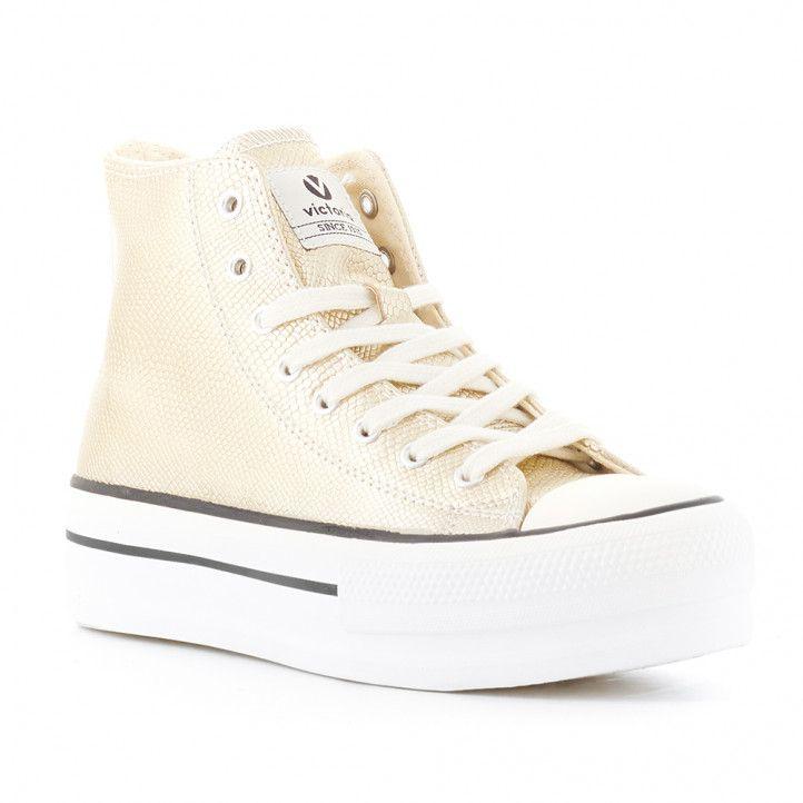 Zapatillas lona Victoria con plataforma dorada - Querol online