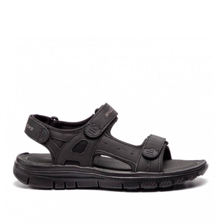 Sandàlies Skechers negres amb doble tira amb velcro - Querol online