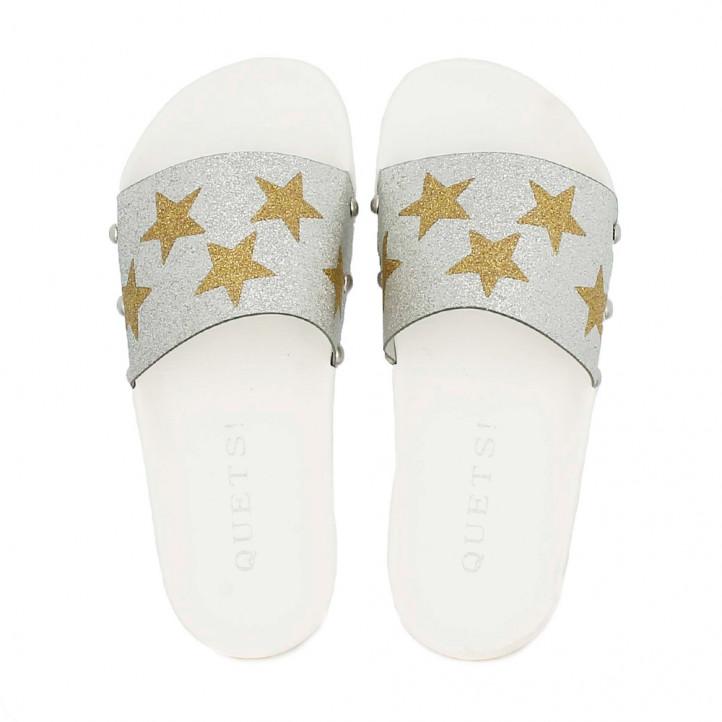 Chanclas QUETS! blancas, plateadas y doradas con estrellas - Querol online