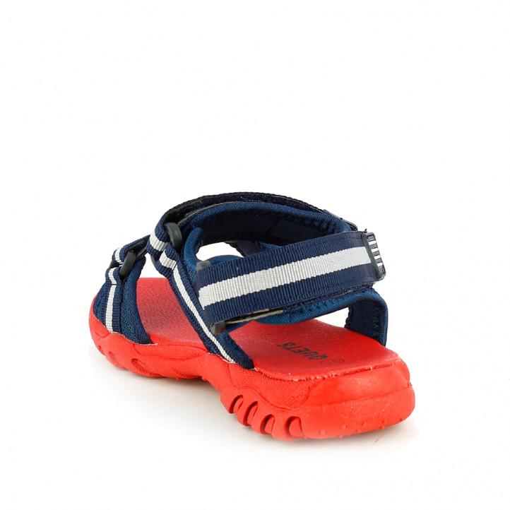 sandàlies QUETS! blau marí i vermell amb triple velcro - Querol online