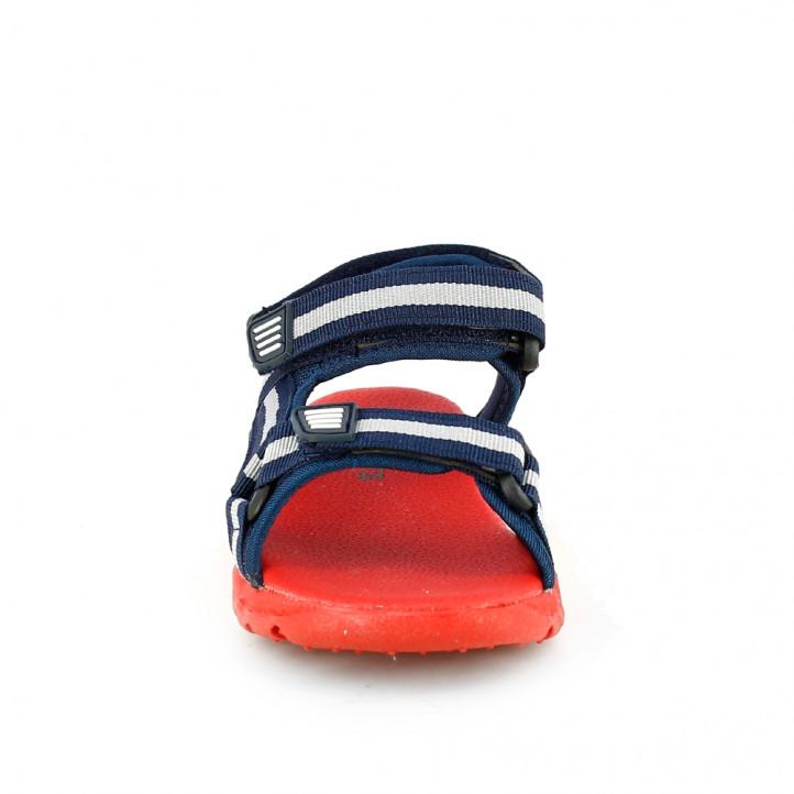 sandalias QUETS! azul marino y rojo con triple velcro - Querol online