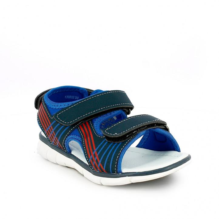 sandàlies QUETS! tancades blaves i vermelles amb triple velcro - Querol online