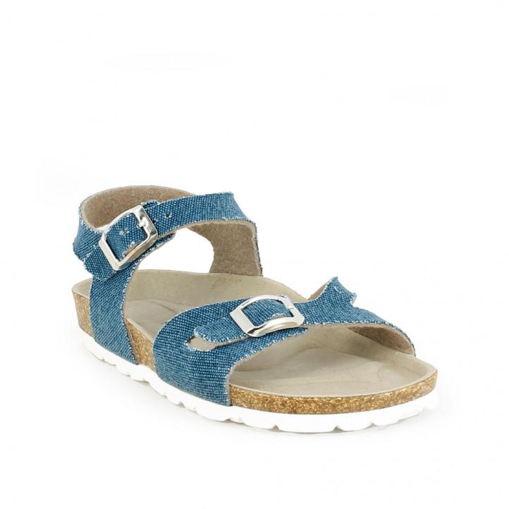 sandalias QUETS! azul marino con dos hebillas - Querol online
