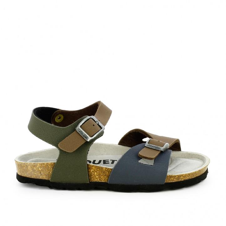 sandalias QUETS! marrones, verdes y azules con dos hebillas - Querol online