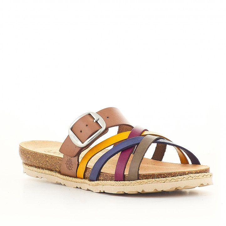 Sandàlies planes Yokono amb sivella y tires de diversos colors - Querol online