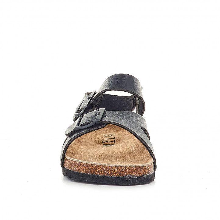 sandalias Owel negras cogidas al tobillo y doble hebilla - Querol online