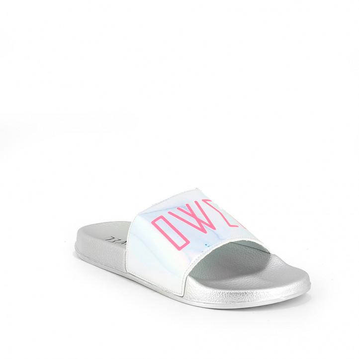 Xancles Owel grises metal·litzades amb logotip rosa - Querol online