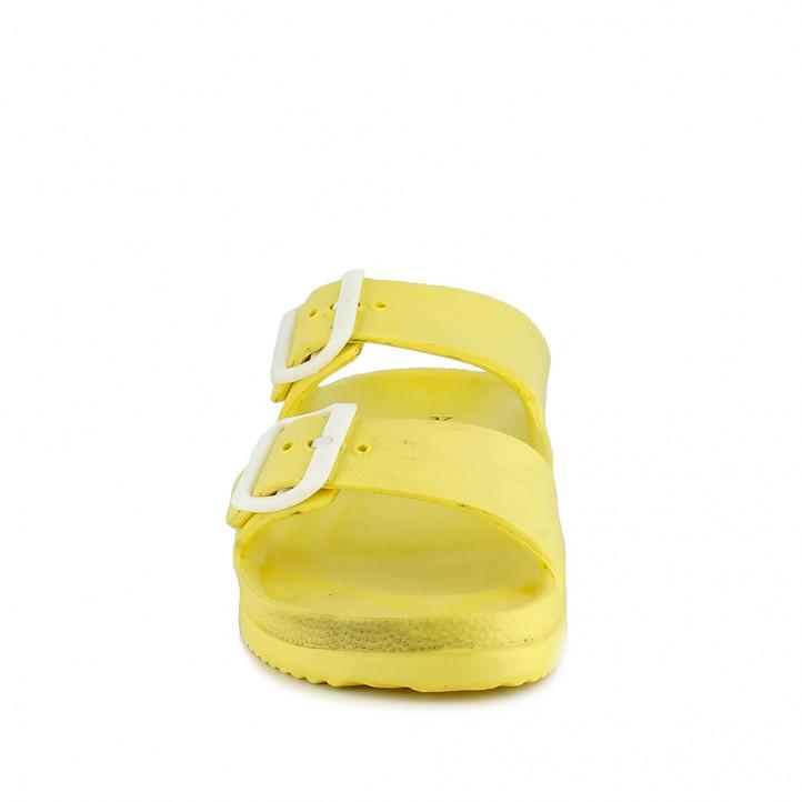 Chanclas Owel amarillas abiertas con doble hebilla - Querol online