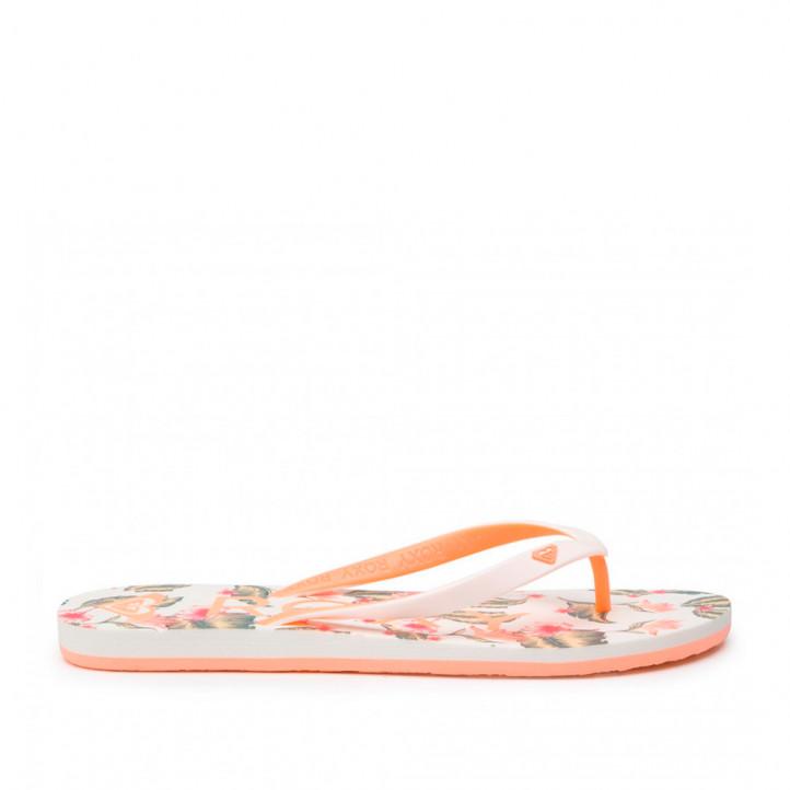 Chanclas Roxy blancas y naranjas - Querol online