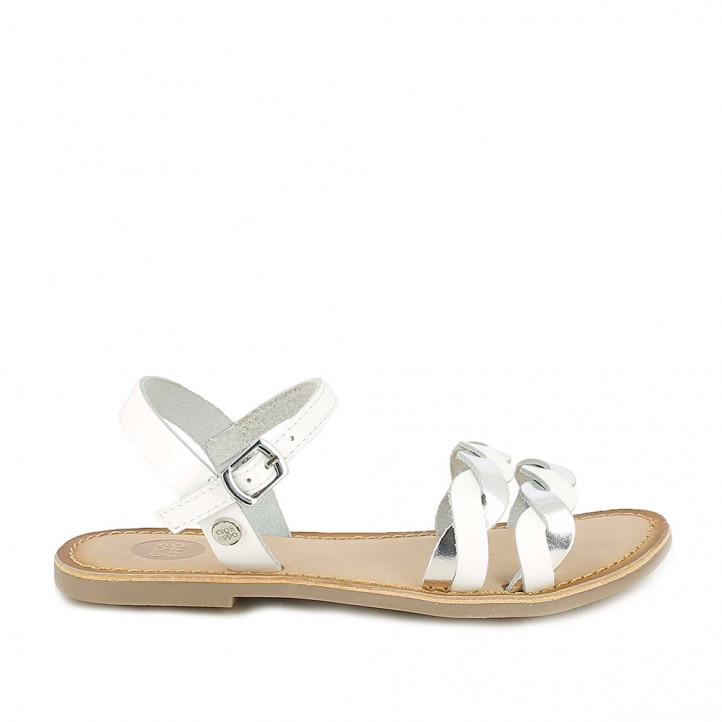 sandàlies Gioseppo blanques de pell amb detalls metal·litzats - Querol online