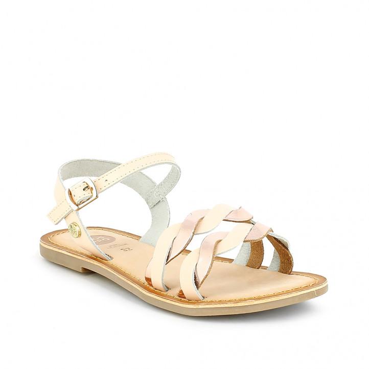 sandalias Gioseppo rosas de piel con detalles metalizados - Querol online