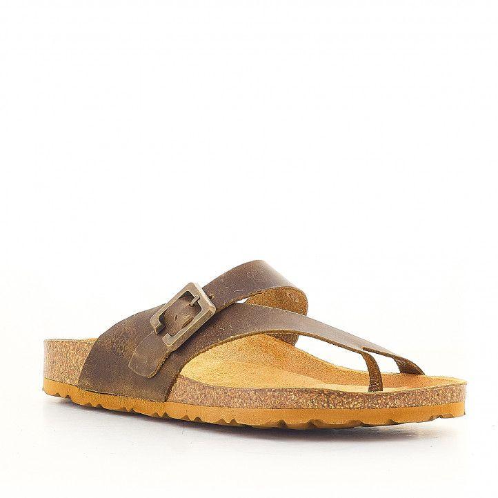 Sandàlies planes Yokono amb sivella gran color cuir - Querol online