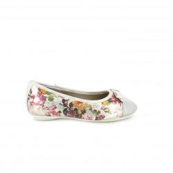 bailarinas SPROX blancas con flores puntera plateada - Querol online