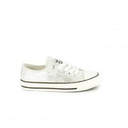 zapatillas lona CHIKA10 plateadas y blancas - Querol online