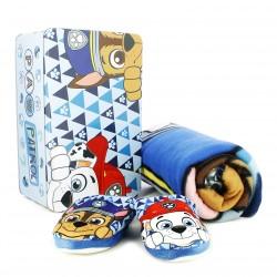 zapatillas casa ARTESANIA CERDA patrulla canina + manta polar + caja metálica - Querol online