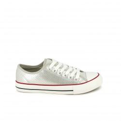 zapatillas lona OWEL plateadas y blancas - Querol online