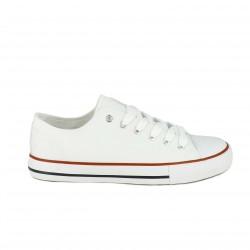 zapatillas lona LOBO blancas bajas con rayas - Querol online