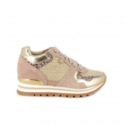 zapatillas deportivas GIOSEPPO rosas y doradas con cuña - Querol online