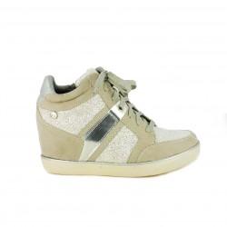 zapatillas deportivas XTI grises y plateadas con cuña - Querol online