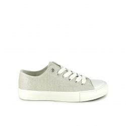 zapatillas lona OWEL plateadas con suela blanca - Querol online