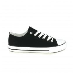 zapatillas lona LOBO negras bajas con rayas - Querol online