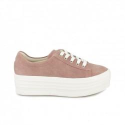 zapatillas lona OWEL rosas de serraje con plataforma - Querol online