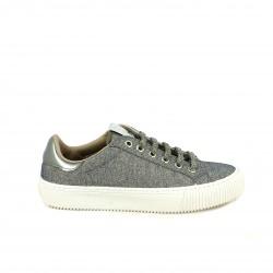 zapatillas lona VICTORIA plateadas y blancas con cordones - Querol online
