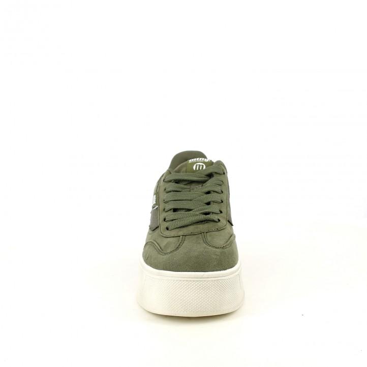 zapatillas lona Mustang verdes con plataforma - Querol online