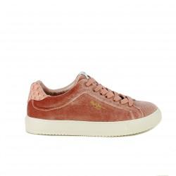 zapatillas lona PEPE JEANS rosas de terciopelo - Querol online