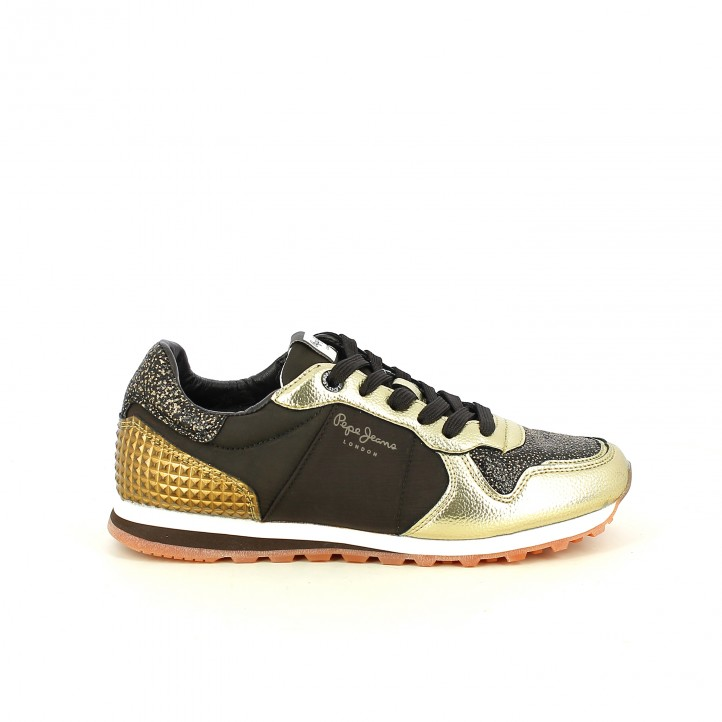 zapatillas deportivas PEPE JEANS marrones y doradas - Querol online