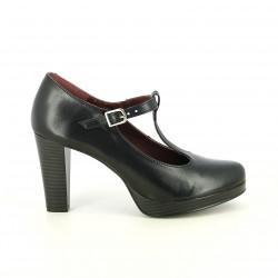 zapatos tacón REDLOVE t-strap negras de piel - Querol online